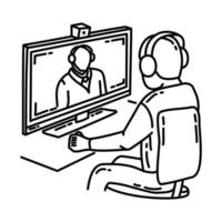 Video Teleconference Icon. Doodle Hand Drawn or Outline Icon Style vector