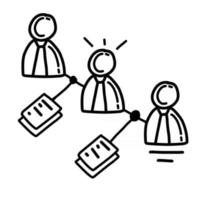 Business relation hand drawn icon design, outline black, vector icon