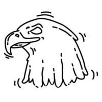 senderismo aventura águila, viaje, viaje, camping. diseño de icono dibujado a mano, contorno negro, icono de doodle, vector
