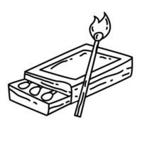 senderismo aventura fósforos de madera, viaje, viaje, camping. diseño de icono dibujado a mano, contorno negro, icono de vector. vector