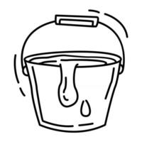 Hiking adventure water bucket,trip,travel,camping. hand drawn icon design, outline black, doodle icon, vector