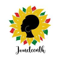 Juneteenth quote with African woman and colorful sunflower isolated on white background. Vector flat illustration. Design for banner, poster, greeting card, flyer
