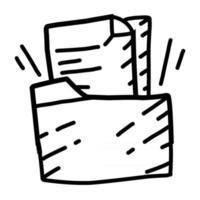 Archivo de negocios diseño de icono dibujado a mano, contorno negro, icono de vector. vector