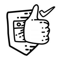 Business trusted hand drawn icon design, outline black, vector icon.