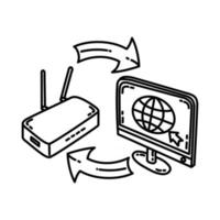Connect Icon. Doodle Hand Drawn or Outline Icon Style vector