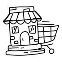 Business market hand drawn icon design, outline black, vector icon.