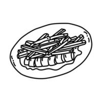 Currywurst Icon. Doodle Hand Drawn or Outline Icon Style vector