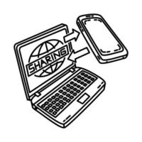 Data Sharing Icon. Doodle Hand Drawn or Outline Icon Style vector