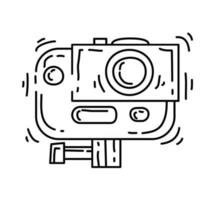 Hiking adventure action camera ,trip,travel,camping. hand drawn icon design, outline black, doodle icon, vector