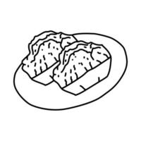 Kue Balok Icon. Doodle Hand Drawn or Outline Icon Style vector