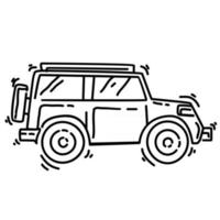 Hiking adventure car ,trip,travel,camping. hand drawn icon design, outline black, doodle icon, vector