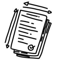 Business license hand drawn icon design, outline black, vector icon.