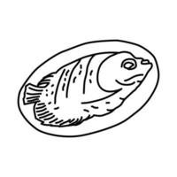 Ikan Bakar Grilled Fish Icon. Doodle Hand Drawn or Outline Icon Style vector