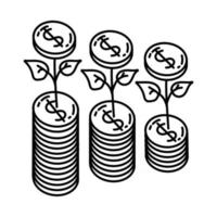 Growth Icon. Doodle Hand Drawn or Outline Icon Style vector