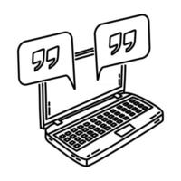 Online Chat Icon. Doodle Hand Drawn or Outline Icon Style vector
