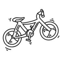 Hiking adventure bike ,trip,travel,camping. hand drawn icon design, outline black, doodle icon, vector