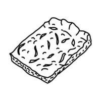 Zwiebelkuchen and federweisser Icon. Doodle Hand Drawn or Outline Icon Style vector