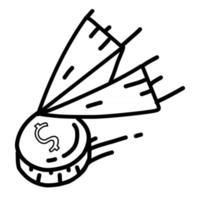 viajes de negocios diseño de icono dibujado a mano, contorno negro, icono de vector. vector