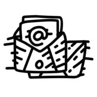 Business email hand drawn icon design, outline black, vector icon.