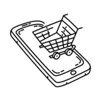 E-Commerce Icon. Doodle Hand Drawn or Outline Icon Style vector