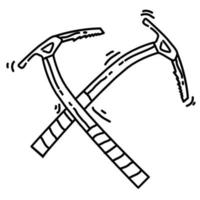 Hiking adventure climbing pickaxe ,trip,travel,camping. hand drawn icon design, outline black, doodle icon, vector
