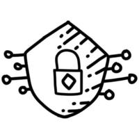 Business safety hand drawn icon design, outline black, vector icon