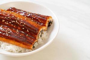 anguila japonesa a la plancha con cuenco de arroz o unagi don foto