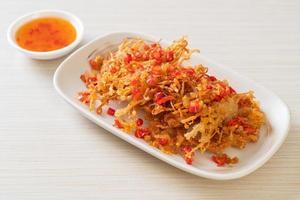Fried Enoki Mushroom or Golden Needle Mushroom with Salt and Chilli photo