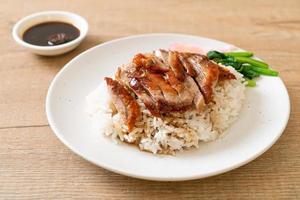 Roasted duck on rice photo