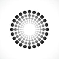 Black abstract vector circle frame halftone dots logo emblem design. Round border Icon using circle dots texture.Vector illustration EPS 10