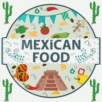 etiqueta de banner redonda ilustración en un diseño plano sobre el tema de la inscripción de comida mexicana nombre pirámide de indios ají tomate y queso en un círculo vector