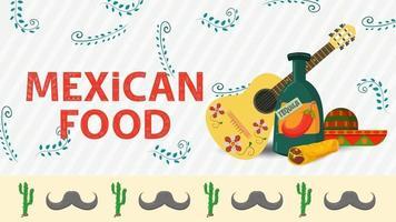 Ilustración de banner para un diseño en un estilo plano sobre el tema de la comida mexicana inscripción nombre guitarra una botella grande de tequila y un sombrero sombrero vector