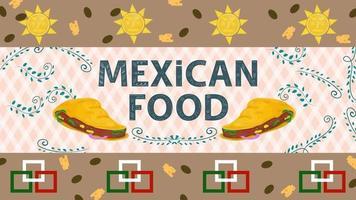 Ilustración de banner para un diseño en un estilo plano sobre el tema de la comida mexicana, el nombre de la inscripción con tortillas de taco en el fondo de ramitas con hojas vector