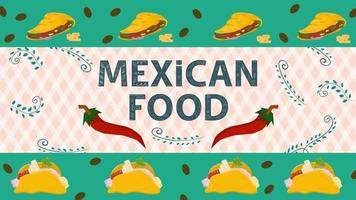Ilustración de banner para un diseño en un estilo plano sobre el tema del nombre de inscripción de comida mexicana con pimiento rojo sobre un fondo de ramitas y hojas vector