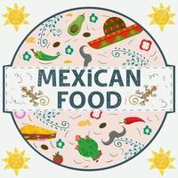 etiqueta de banner redonda ilustración en un diseño plano sobre el tema de la comida mexicana inscripción nombre todos los elementos de la comida pimiento tortilla taco cactus ramitas y sombrero sombrero en un círculo vector