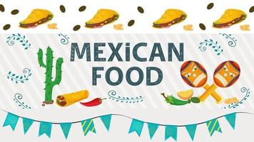 Ilustración de banner para un diseño en un estilo plano sobre el tema de la inscripción de comida mexicana nombre cactus tortilla burrito pimientos rojos y verdes y maracas vector