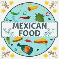 banner etiqueta redonda ilustración en un diseño plano sobre el tema de la comida mexicana inscripción nombre todos los elementos de comida pimienta tortilla taco bebida tequila cactus en un círculo vector
