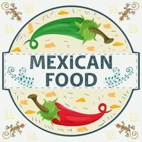 Etiqueta de banner redonda ilustración en un diseño plano sobre el tema del nombre de inscripción de comida mexicana rojo y verde pimiento picante en un círculo vector