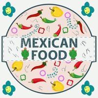 etiqueta de banner redonda ilustración en un diseño plano sobre el tema de la inscripción de comida mexicana nombre todos los elementos de la comida pimiento rojo y verde en un círculo vector