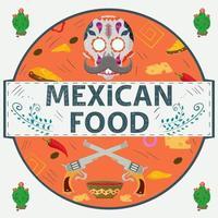 etiqueta de banner redonda ilustración en un diseño plano sobre el tema de la inscripción de comida mexicana nombre calavera pistolas con salsa picante queso ají en un círculo vector
