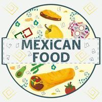 banner etiqueta redonda ilustración en un diseño plano sobre el tema de la comida mexicana inscripción nombre todos los elementos de la comida pimiento tortilla taco y burrito cactus pimiento dulce en un círculo vector