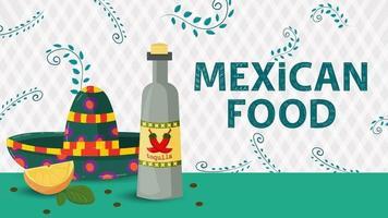 Ilustración de banner para un diseño en un estilo plano sobre el tema de la inscripción de comida mexicana nombre sombrero sombrero y una botella de bebida de tequila vector