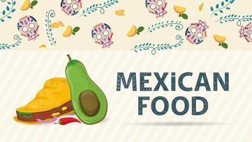 Ilustración de banner para un diseño de estilo plano sobre el tema del nombre de la inscripción de comida mexicana y una tortilla de taco grande con relleno de pimiento rojo y mango en rodajas vector