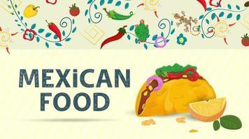 Ilustración de banner para un diseño en un estilo plano sobre el tema de la comida mexicana, el nombre de la inscripción y una tortilla de taco grande con relleno y una rodaja de limón. vector