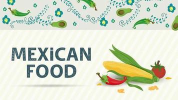 Ilustración de banner para un diseño en un estilo plano sobre el tema de la inscripción de comida mexicana nombre maíz maíz pimiento rojo y tomate vector