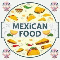banner etiqueta redonda ilustración en un diseño plano sobre el tema de la comida mexicana inscripción nombre todos los elementos de la comida diferentes tortillas tacos y burritos pimiento picante en un círculo vector