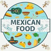 icono circular de comida mexicana vector