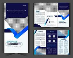Tri fold Brochure Business template design and Modern creative profile blue gradient shapes.eps vector