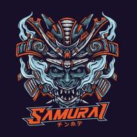 Angry Samurai Mecha Head vector