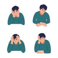 el hombre tiene dolor de cabeza. el niño siente ansiedad y depresión. concepto de salud psicológica. nervioso, apatía, tristeza, pena, infeliz, desesperado, migraña. ilustración vectorial plana. vector